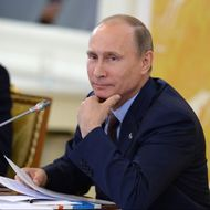 PETERSBURG, RUSSIA - SEPTEMBER 06:  In this handout image provided by Host Photo Agency, Russian President Vladimir Putin attends the second working meeting of the G20 heads of state and government, heads of invited states and international organizations at the G20 Summit on September 6, 2013 in St. Petersburg, Russia. Leaders of the G20 nations made progress on tightening up on multinational company tax avoidance, but remain divided over the Syrian conflict as they enter the final day of the Russian summit. (Photo by Valeriy Melnikov/Host Photo Agency via Getty Images)