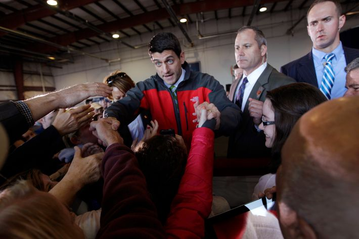 Republican vice presidential candidate, Rep. Paul Ryan, R-Wis., greets the supporters during a campaign event at Richmond International Airport,, Saturday, Nov. 3, 2012 in Richmond, Va. (AP Photo/Mary Altaffer)