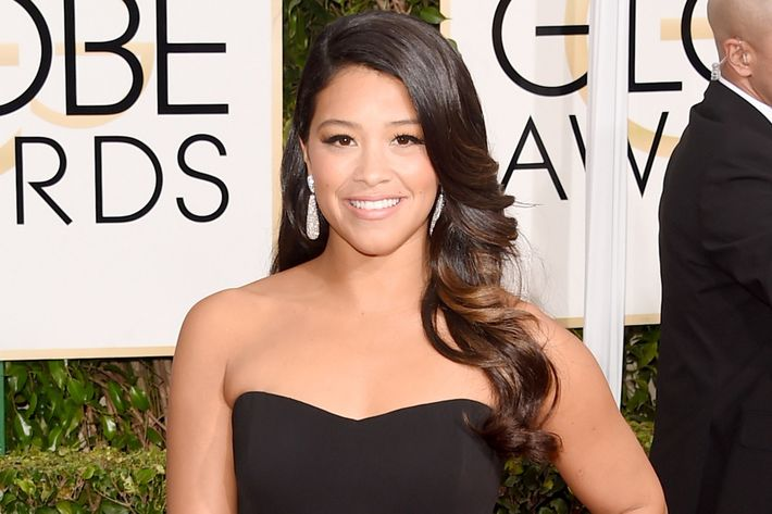 Gina Rodriguez wearing Jessica Casanova's prom dress.