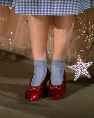 How on-trend is she with that gingham and those socks and those sparkle shoes?