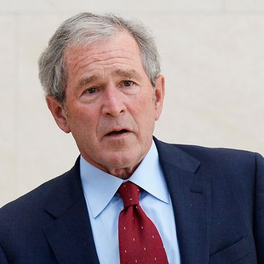 DALLAS, TX - APRIL 24:  Former President George W. Bush participates in a signing ceremony inside the Freedom Hall for the joint use agreement between the National Archive and the George W. Bush Presidential Center on the campus of Southern Methodist University on April 24, 2013 in Dallas, Texas. Dedication of the George W. Bush Presidential Library is to take place on April 25 with all five living U.S. Presidents in attendance.  (Photo by Kevork Djansezian/Getty Images)