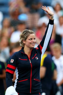 NEW YORK, NY - AUGUST 29:  Kim Clijsters of Belgium waves to the crowd before walking off court following her defeat to Laura Robson of Great Britain after their women's singles second round match on Day Three of the 2012 US Open at USTA Billie Jean King National Tennis Center on August 29, 2012 in the Flushing neigborhood of the Queens borough of New York City.  (Photo by Matthew Stockman/Getty Images)