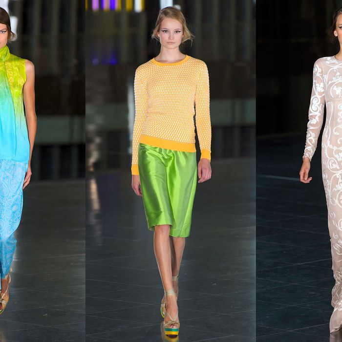 Designs from Saunders' spring 2012 collection.