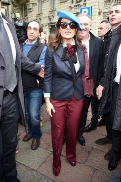 Salma Hayek in her blue beret.
