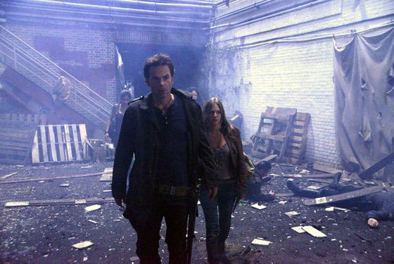 "REVOLUTION -- ""Ties That Bind"" Episode 108 -- Pictured: (l-r) Billy Burke as Miles Matheson, Tracy Spiridakos as Charlie Mathe"