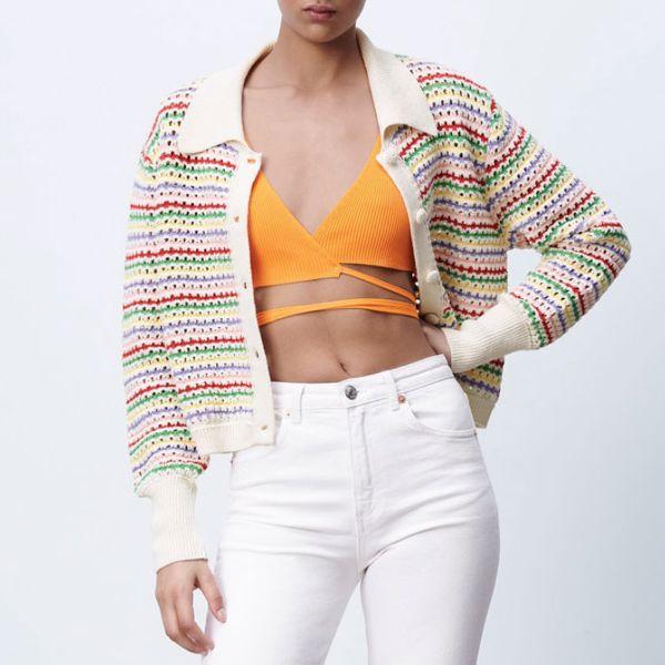 Zara Striped Knit Jacket