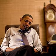 President Barack Obama makes an election night phone call to Rep. John Boehner (R-Ohio) from his Treaty Room office in the White House residence, Nov. 2, 2010.