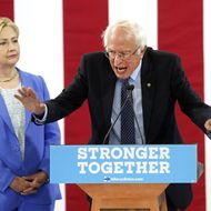 Sanders Joins Clinton At Campaign Event In Portsmouth