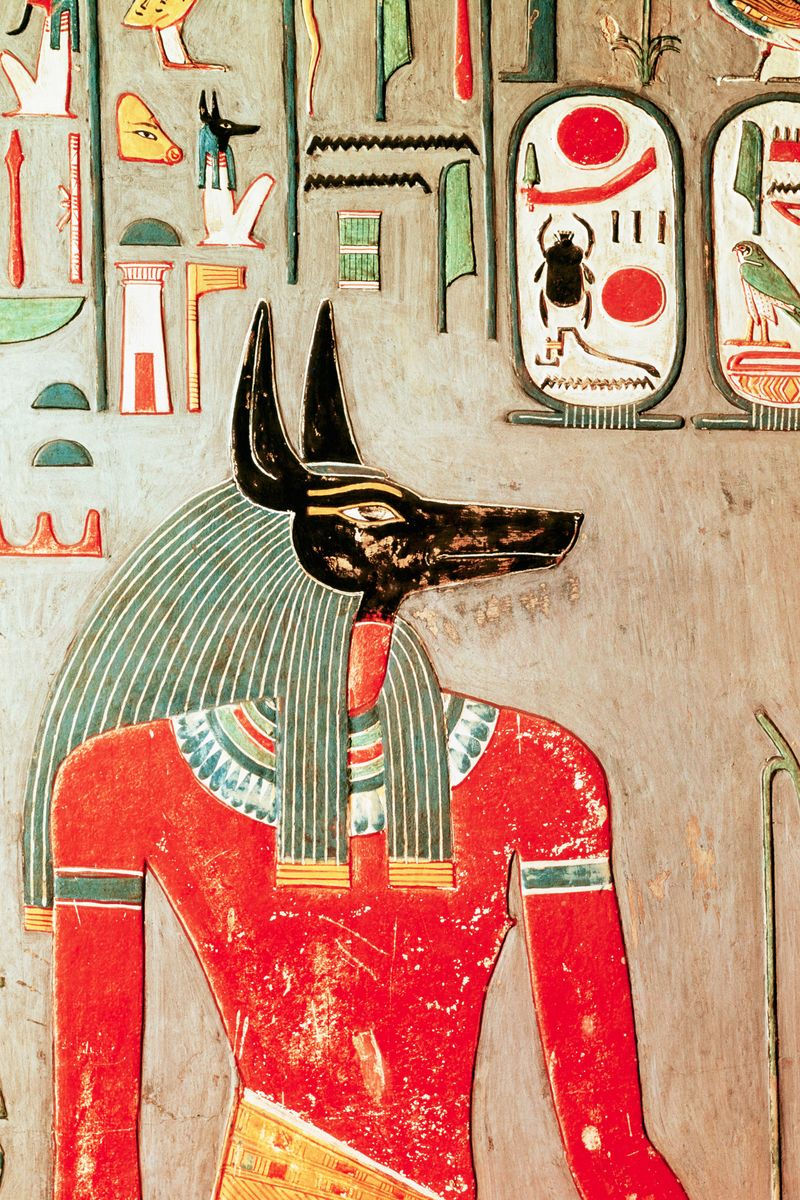 Egyptian anubis mask 50 most legendary hats throughout for Egyptian mural art