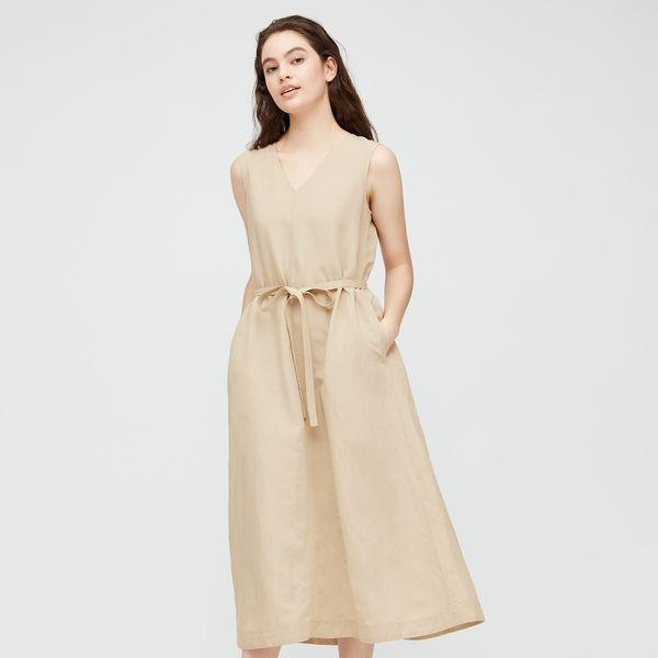 Women Linen Blend A-Line Sleeveless Dress