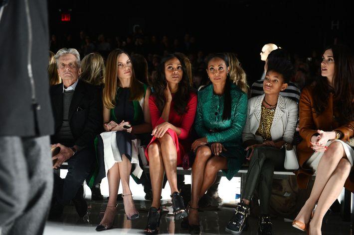 From left: Michael Douglas, Hilary Swank, Zoe Saldana, Jada Pinkett-Smith, Willow Smith.