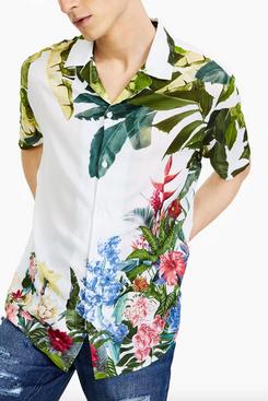 INC International Concepts Men's Tropical Garden Shirt