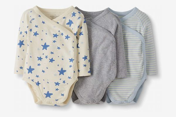 Moon and Back by Hanna Andersson Baby Organic Cotton Long Sleeve Side Snap Bodysuit, 3-Pack