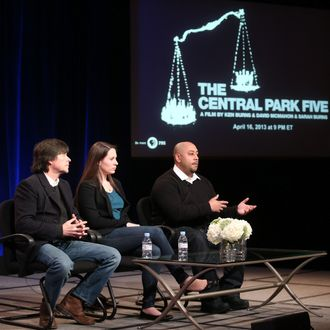 PASADENA, CA - JANUARY 14: (L-R) Filmmakers Ken Burns and daughter Sarah Burns and Raymond Santana, featured subject, of 'The Central Park Five' speak onstage during the PBS portion of the 2013 Winter Television Critics Association Press Tour at the Langham Huntington Hotel & Spa on January 14, 2013 in Pasadena, California. (Photo by Frederick M. Brown/Getty Images)