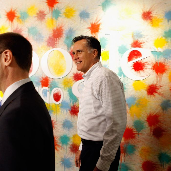 Republican presidential candidate, former Massachusetts Gov. Mitt Romney (R) is given a tour by Google Vice President Jim Lecinski at the Google Chicago headquarters
