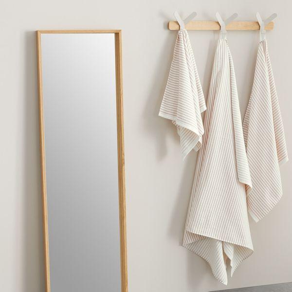 Santorini 2 x Striped Bath Sheet, Rose Pink