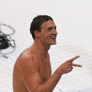 Ryan Lochte of the United States reacts after he won the Final of the Men's 400m Individual Medley on Day 1 of the London 2012 Olympic Games at the Aquatics Centre on July 28, 2012 in London, England.