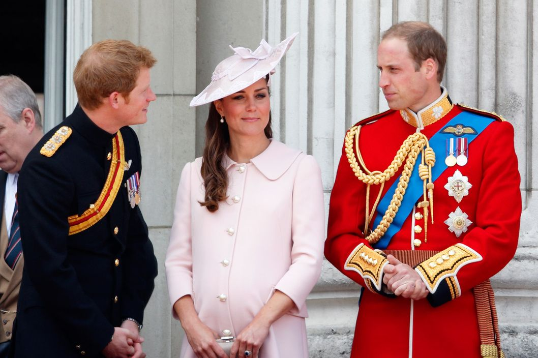 Prince Harry, Catherine, Duchess of Cambridge and Prince William, Duke of Cambridge stand on the balcony of Buckingham Palace during the annual Trooping the Colour Ceremony on June 15, 2013 in London, England. Today's ceremony which marks the Queen's official birthday will not be attended by Prince Philip the Duke of Edinburgh as he recuperates from abdominal surgery. This will also be The Duchess of Cambridge's last public engagement before her baby is due to be born next month.