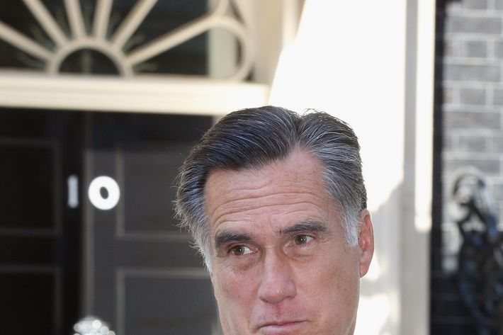 LONDON, ENGLAND - JULY 26: Mitt Romney, the Republican nominee for the USA presidential election, leaves 10 Downing Street after meeting with British Prime Minister David Cameron on July 26, 2012 in London, England. Mr Romney is meeting various leaders, past and present, on his visit to the UK, including Tony Blair, Ed Miliband and Nick Clegg. (Photo by Oli Scarff/Getty Images)