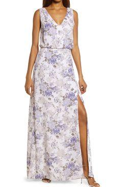 WAYF The Bella Floral Print Blouson Gown