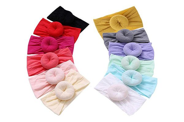 Qandsweet Baby Headbands Circle Bows Knotted