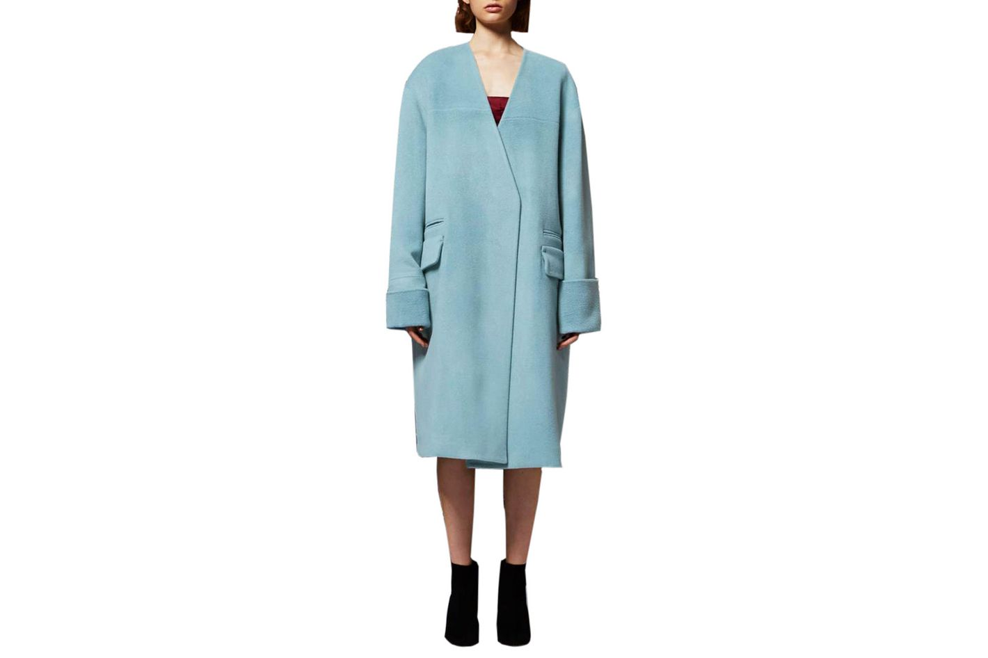Topshop Collarless Wool Blend Coat