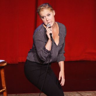 Comedian Amy Schumer performs during One Kid One World's 3rd Annual Night Of (At Least) 18 Laughs at Largo on April 27, 2014 in Los Angeles, California.
