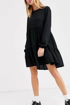 Monki Mini Long Sleeve Smock Dress in Black