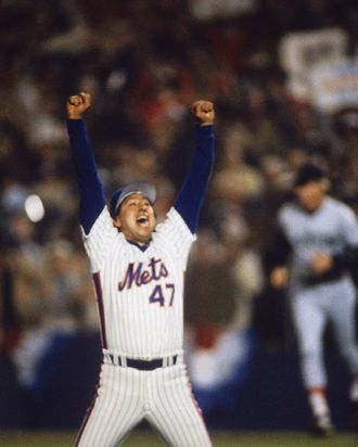 FLUSHING, NY - OCTOBER 27: Pitcher Jesse Orosco #47 of the New York Mets reacts after defeating the Boston Red Sox in Game Seven of the World Series at Shea Stadium on October 27,1986 in Flushing, New York. The Mets defeated the Red Sox 8-5. (Photo by Focus On Sport/Getty Images)