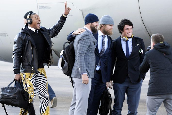 NFL 2016 - Panthers Arrive in San Jose for Super Bowl 50