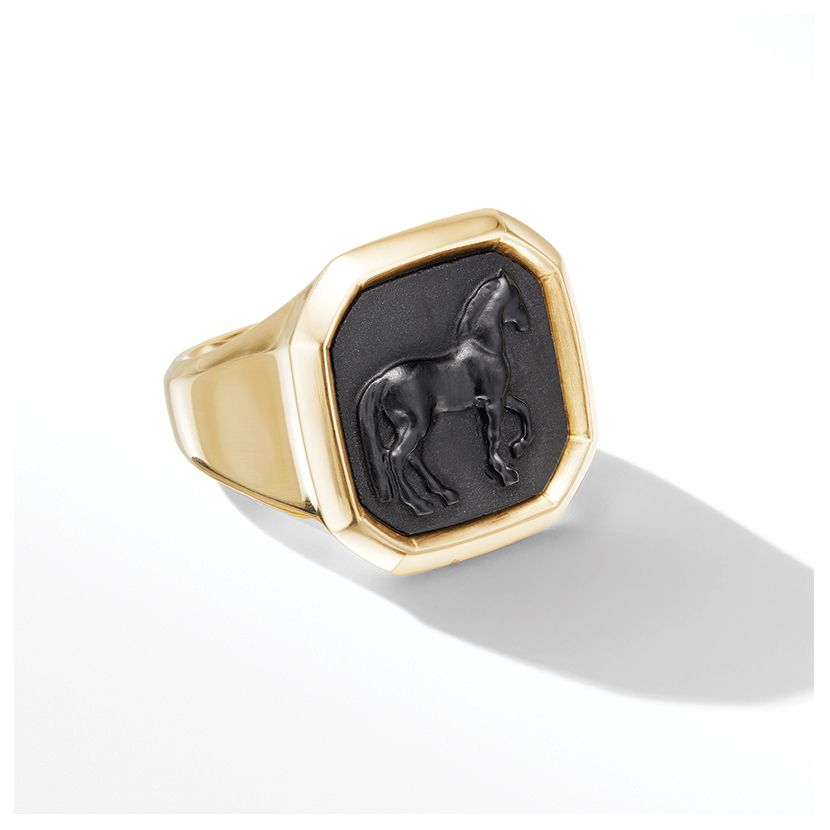 Petrvs® Large Horse Ring in 18K Yellow Gold