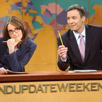 SATURDAY NIGHT LIVE -- Episode 4 -- Aired 11/02/2002 -- Pictured: (l-r) Tina Fey, Jimmy Fallon during
