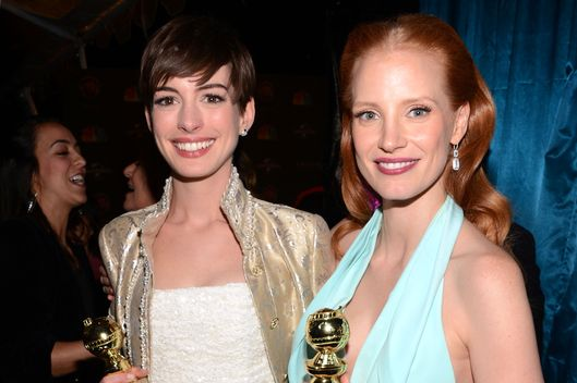 Golden Glob Award winners Anne Hathaway and Jessica Chastain attend the NBCUniversal Golden Globes viewing and after party held at The Beverly Hilton Hotel on January 13, 2013 in Beverly Hills, California.
