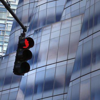 A traffic light stops traffic on Manhattan's West Side highway.