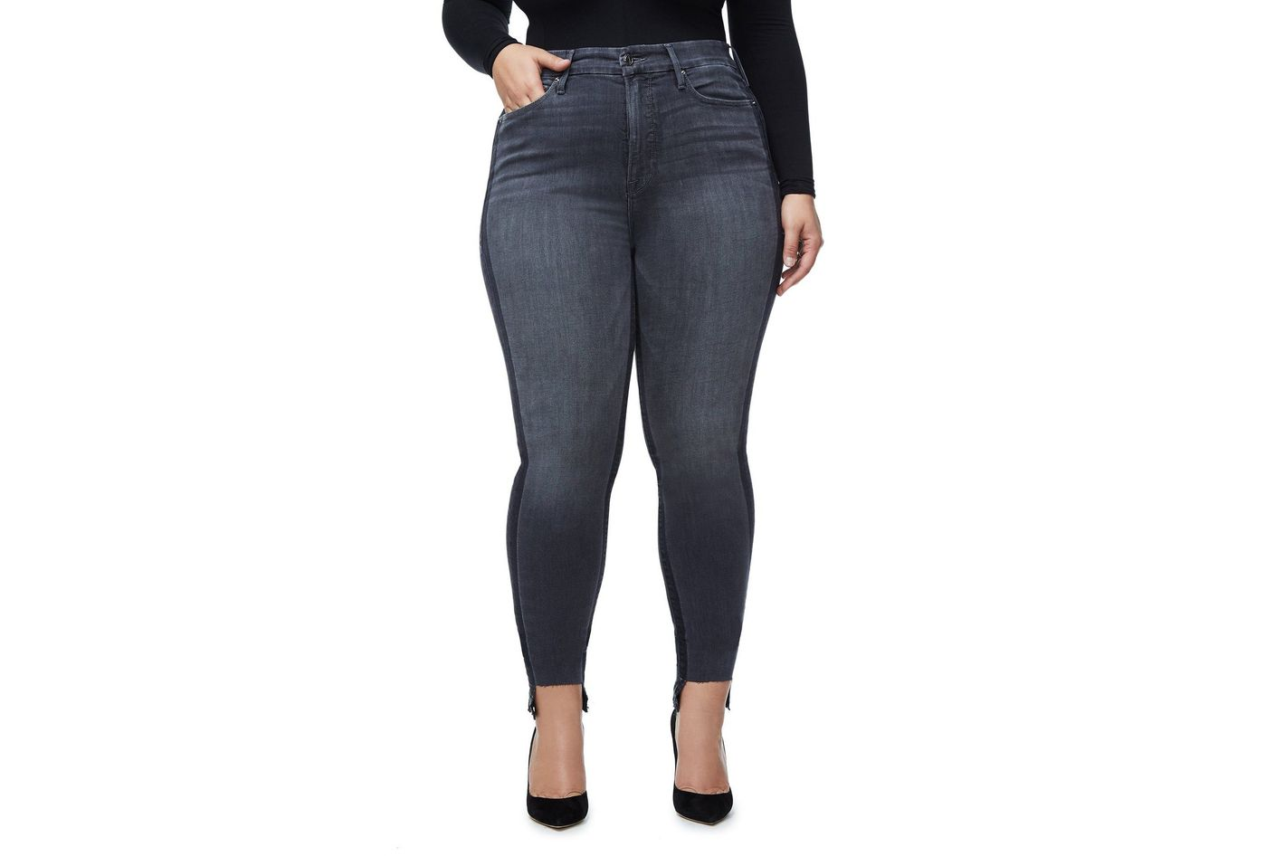 076b14195af71 Best plus-size jeans for petite women. Good American Good Legs Shadow  Tunnel Hem