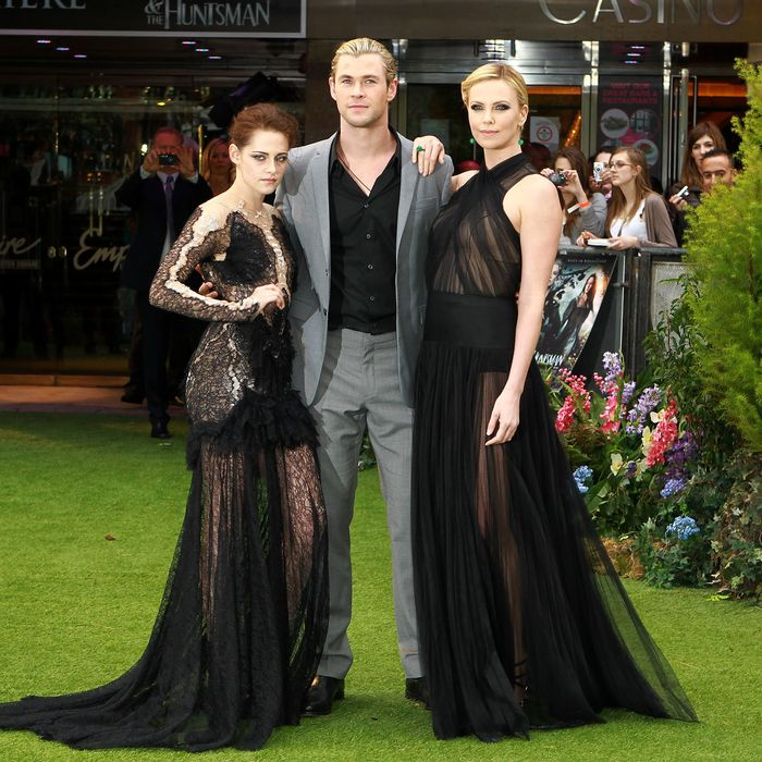 Kristen Stewart, Chris Hemsworth, and Charlize Theron.