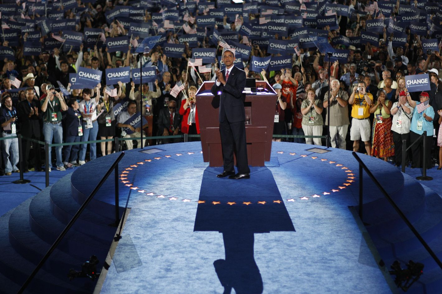 """Democratic presidential nominee Barack Obama greets delegates prior to accepting the Democratic presidential nomination at Invesco Field at Mile High during the 2008 Democratic National Convention (DNC) August 28, 2008 in Denver, Colorado. Obama's acceptance speech coincides today with the 45th anniversary of Rev. Martin Luther King Jr. delivery of the """"I Have a Dream"""" speech. Sen. Obama is now the first African-American to be officially nominated as a candidate for U.S. president by a major party."""