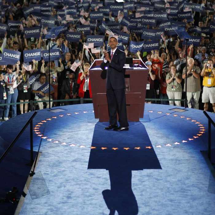Democratic presidential nominee Barack Obama greets delegates prior to accepting the Democratic presidential nomination at Invesco Field at Mile High during the 2008 Democratic National Convention (DNC) August 28, 2008 in Denver, Colorado. Obama's acceptance speech coincides today with the 45th anniversary of Rev. Martin Luther King Jr. delivery of the