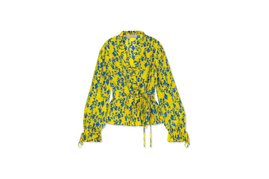 PREEN LINE Taia ruffled floral-print crepe de chine wrap blouse