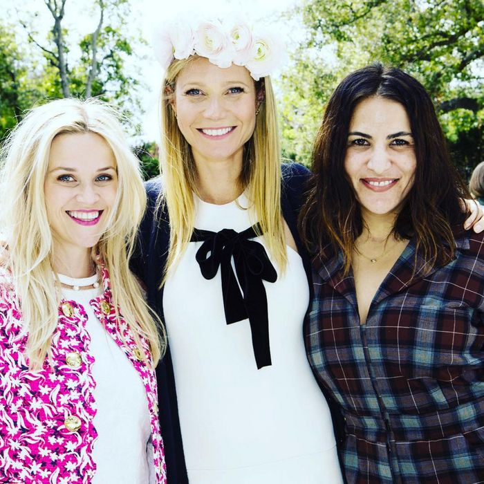 Goop's queen is also queen of garden parties.