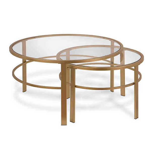 Hudson&Canal Gaia Two-Piece Nesting Coffee Table Set in Gold