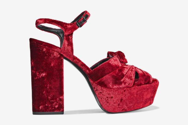 Yves Saint Laurent Farrah Knotted Crushed-Velvet Platform Sandals