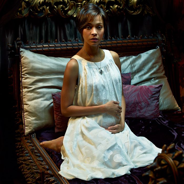 ROSEMARY'S BABY -- Season: 2014 -- Pictured: Zoe Saldana as Rosemary -- (Photo by: Nino Munoz/NBC)
