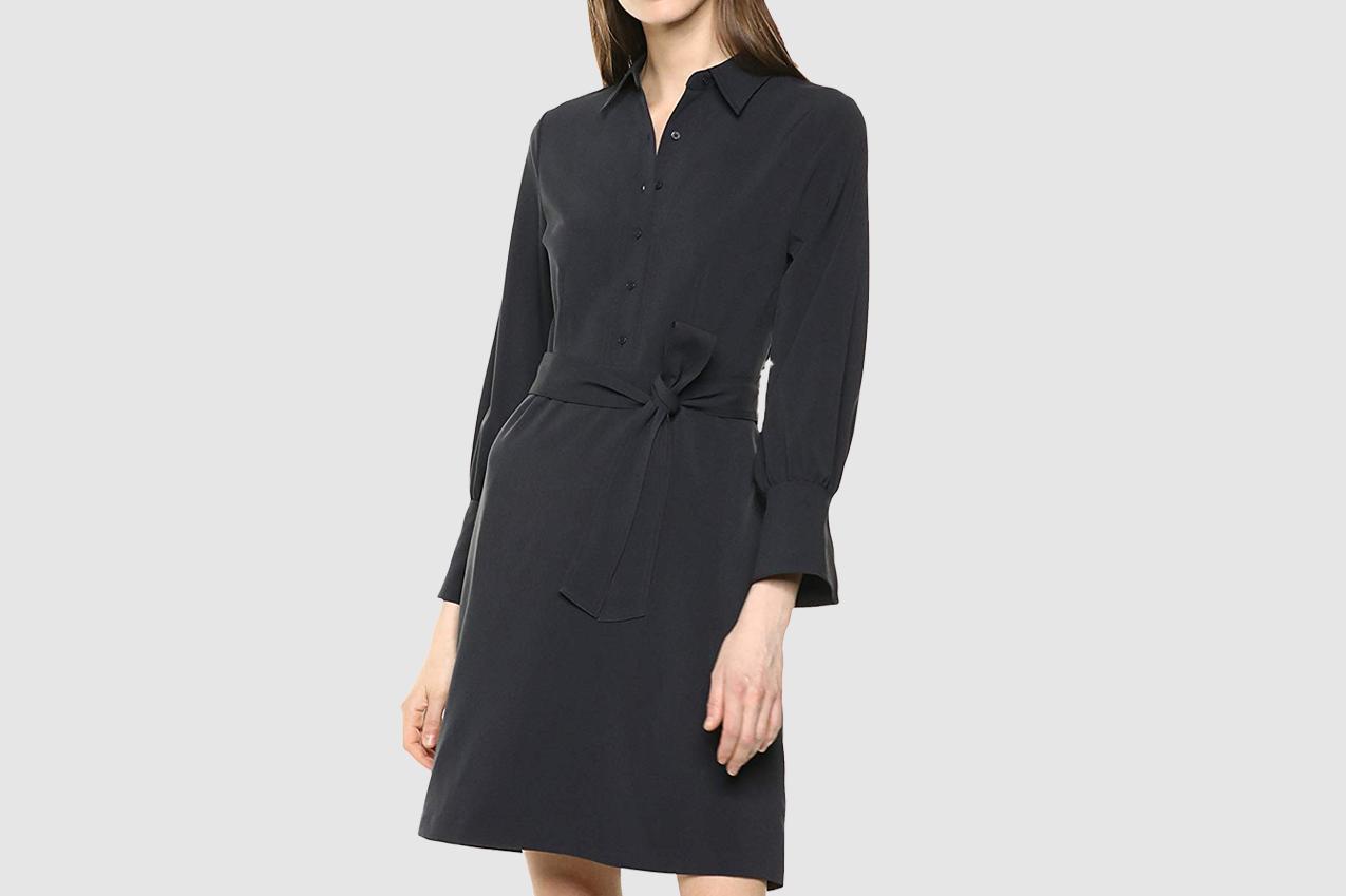 Lark & Ro Women's Long Sleeve Tie Waist Stretch Woven Shirt