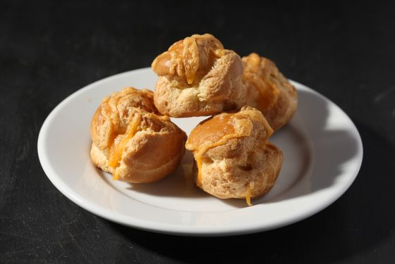 Cheddar-dill-filled cheese balls.