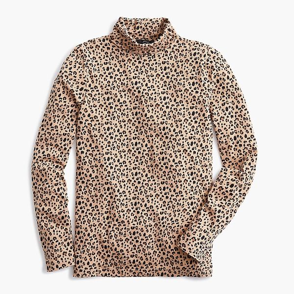J.Crew Tissue Turtleneck in Leopard