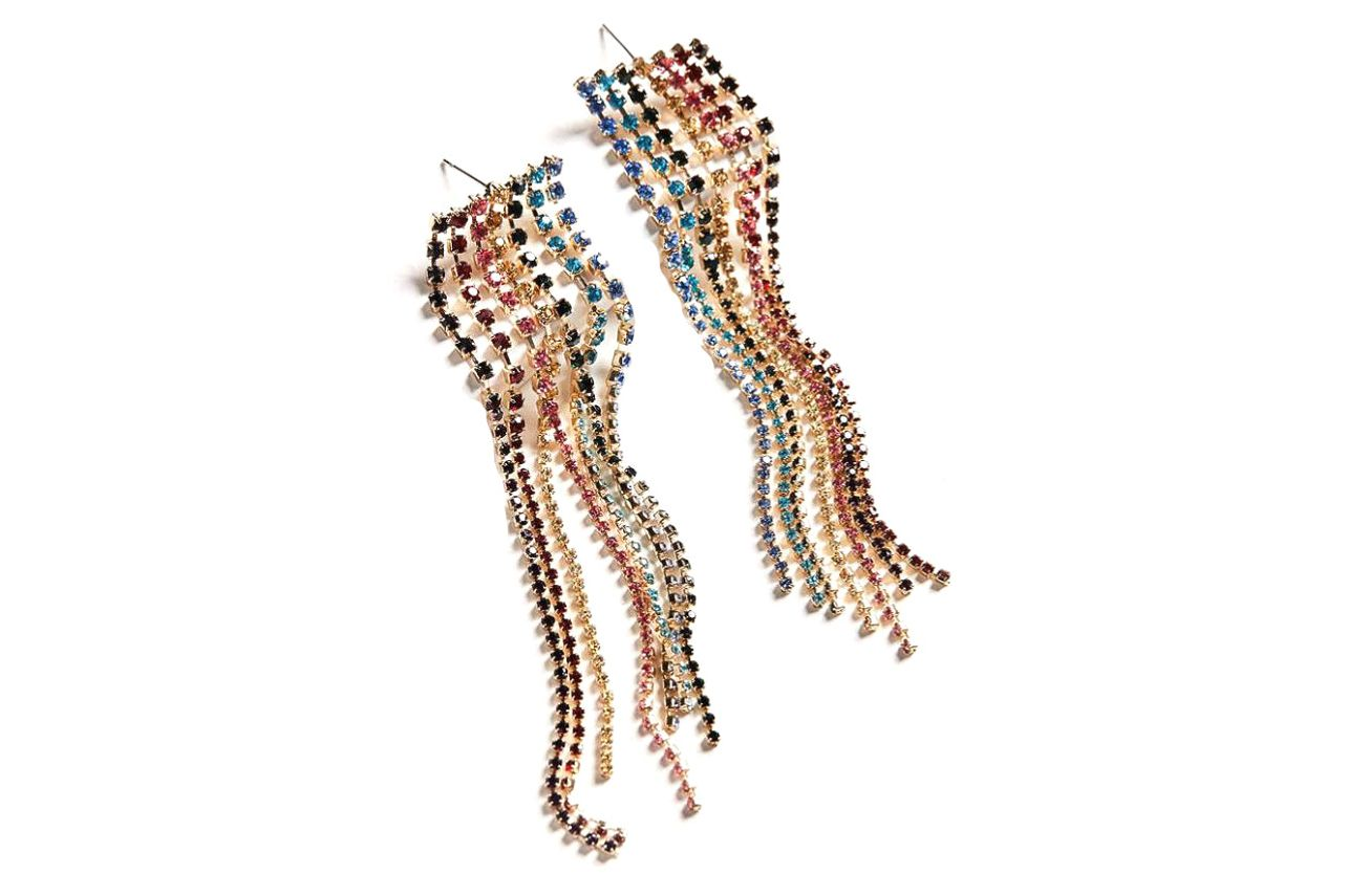 Falling Rhinestone Drop Earrings