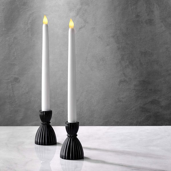 Black Glass Taper Candle Holders, 3.5