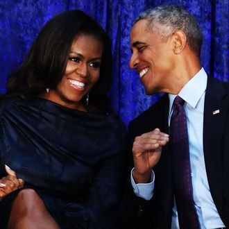 Michelle and Barack Obama.