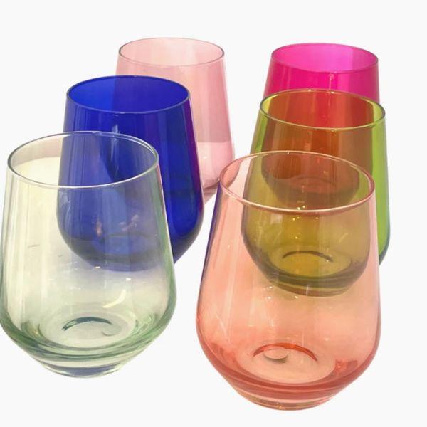 Estelle Colored Wine Stemless Set of 6
